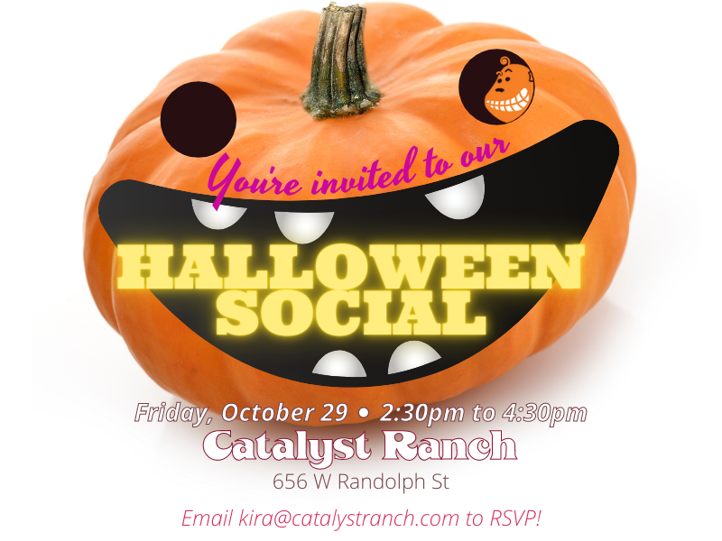 Invitation graphic for a Halloween Social on Oct 29, with an illustration of a smiling, orange jack-o-lantern